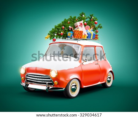 Retro car with gift boxes and christmas tree. Unusual christmas illustration  - stock photo