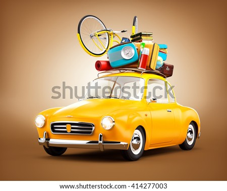 Retro car with luggage. Unusual 3D travel illustration  of cartoon made up car - stock photo