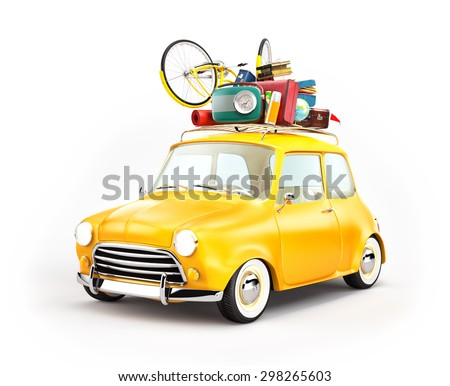 Retro car with luggage. Unusual  travel illustration  - stock photo