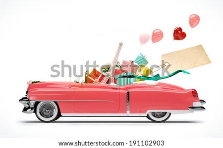 Retro car with Purchases and fashion boxes. Shopping Car - stock photo