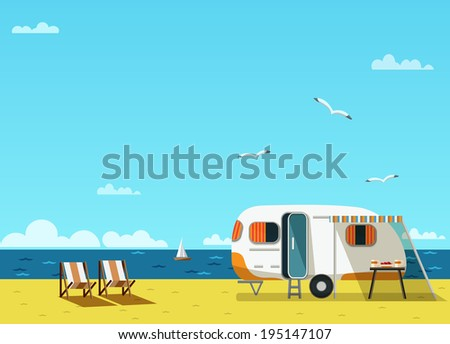 Retro caravan on the beach, summer vacation, raster illustration - stock photo