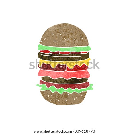 retro cartoon amazing burger - stock photo