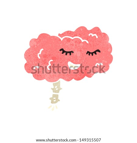 retro cartoon brain - stock photo