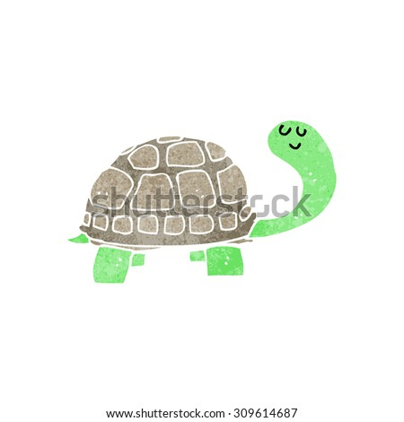 retro cartoon happy tortoise - stock photo