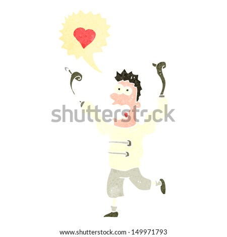 retro cartoon man crazy in love - stock photo