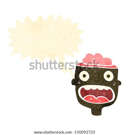 retro cartoon man with exposed brain - stock photo