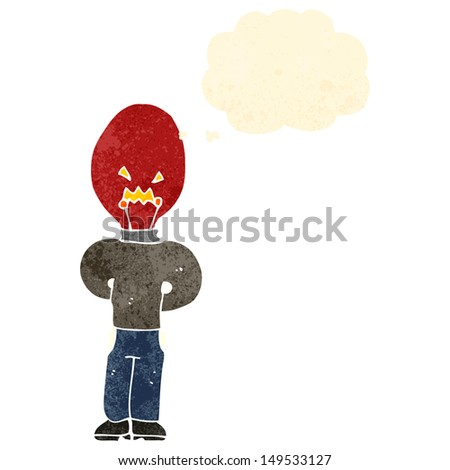 retro cartoon man with red light bulb head and thought bubble - stock photo