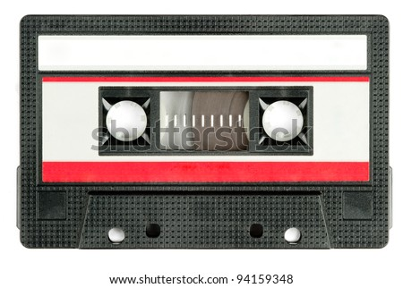 retro cassette tape isolated on white background - stock photo
