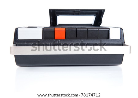 Retro Cassette Tape player and recorder isolated on a white background. - stock photo