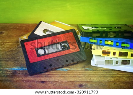 Retro cassette tape, selective focus,vintage filtered, good copy space - stock photo
