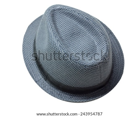 Retro Checkered Fedora Hat isolated on a white background  - stock photo