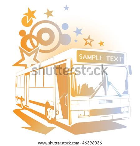 Retro cheerful bus - stock photo