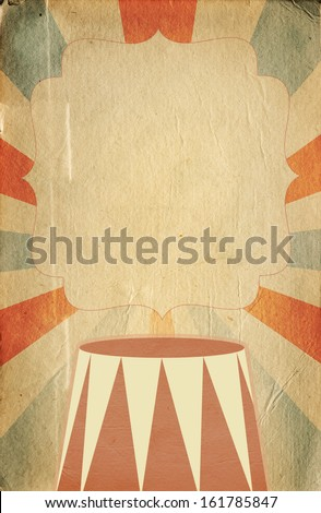 Retro circus inspired poster template on  sunbeam background with a space for your text - stock photo