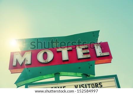 Retro classic road side Motel sign route 66, USA - stock photo