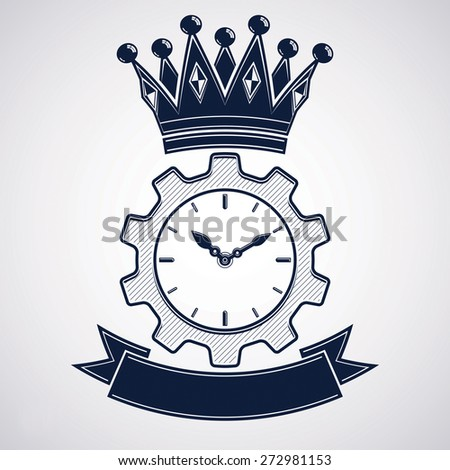 retro cog wheel and clock with crown, business organizer symbol. Production process planning conceptual icon. Engineering design element â?? gear. Imperial theme emblem. - stock photo