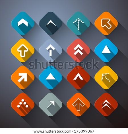 Retro Colorful Abstract Arrows Set - stock photo