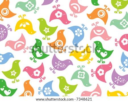 retro colorful fun icon chicks pattern (raster) - stock photo