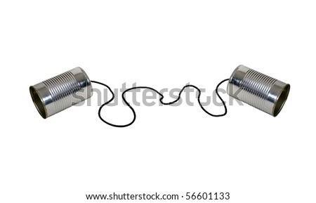 Retro communication shown by two tin cans on a string for a childs version of a telephone - path included - stock photo