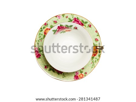 Retro cup with floral patterns. top view - stock photo