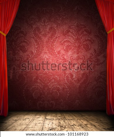 Retro curtain with stage - stock photo