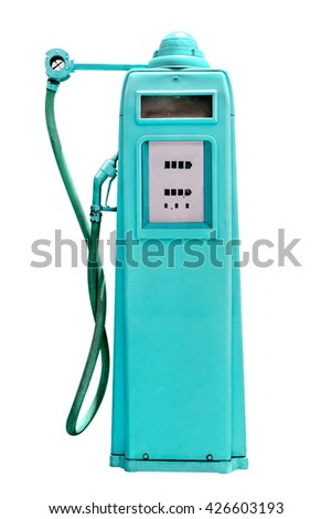 retro cyan petrol gasoline pump isolated in white background,clipping path - stock photo