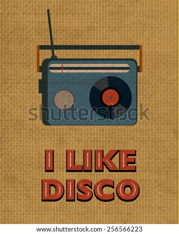 retro damaged disco poster with radio - stock photo