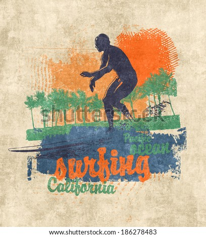 Retro design California surfing company with surfer, palms, hand-written fonts and textures. raster version.  - stock photo