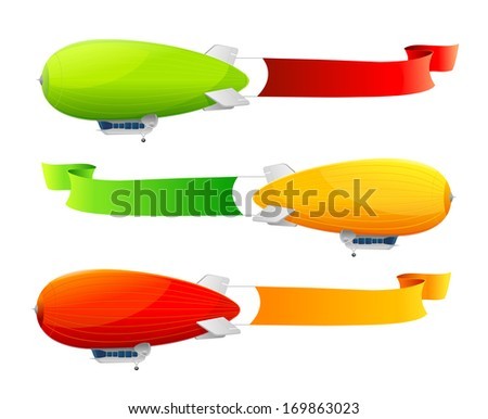 Retro dirigible and flags background.  illustration - stock photo