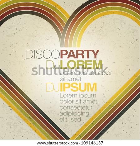 Retro disco party flyer design template. Raster version, vector file available in portfolio - stock photo