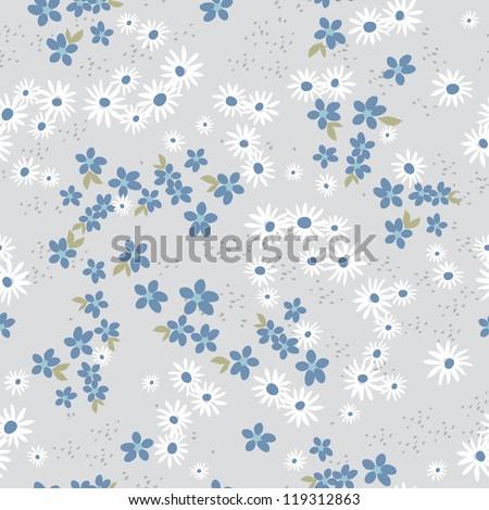 Retro Ditsy Floral Seamless - Blue - stock photo