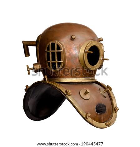 Retro diving helmet isolated - stock photo
