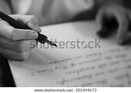 Retro effect faded and toned image of a girl writing a note with a fountain pen antique handwritten letter  page document poet journalist lawyer business plan study ccontract  letter pen memory report - stock photo
