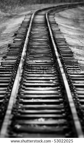 Retro empty railway in the forest ( black white) - stock photo