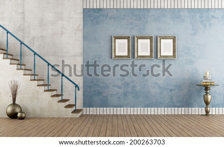 Retro empty room with blue wall and staircase - rendering - stock photo