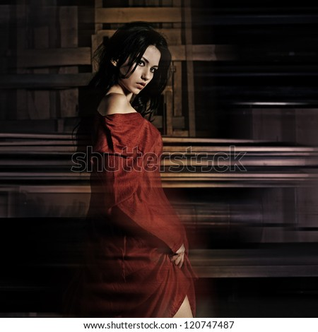 Retro fashion portrait of a beautiful girl, actress dancer - stock photo