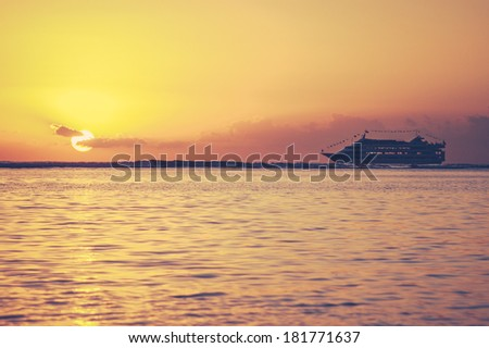 Retro Filtered Style Vacation Photo Of A Tropical Sunset Cruise In Hawaii - stock photo