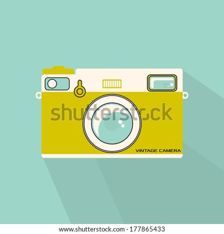Retro flat style camera illustration in vintage colours. Also available in vector format. - stock photo