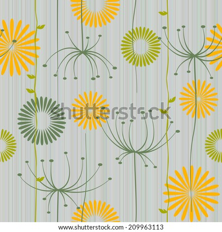 Retro floral seamless background with dandelion - stock photo
