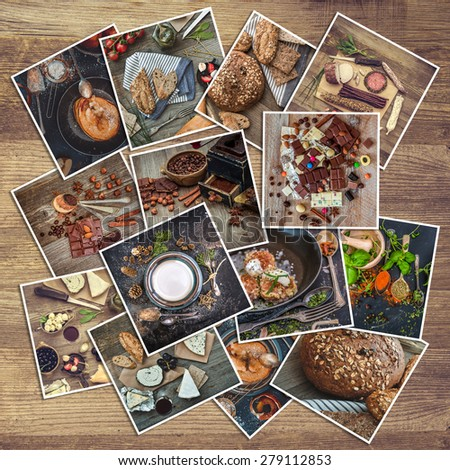 retro food photos on a wooden background - stock photo