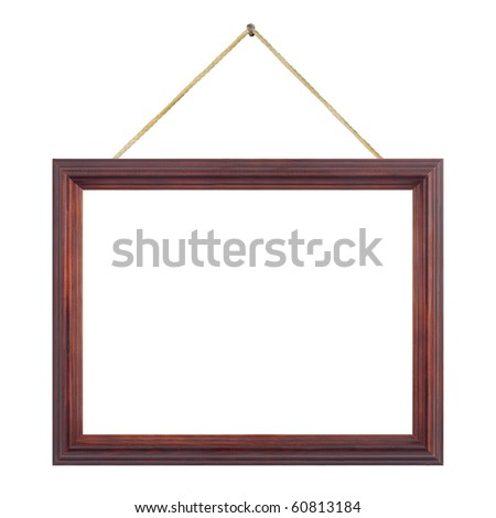 Retro frame on string isolated on white background - stock photo
