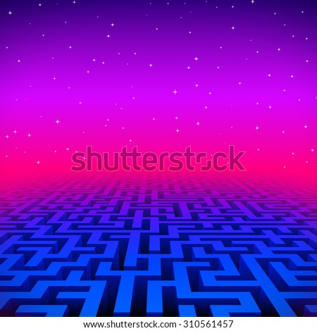 Retro gaming hipster neon landscape with blue labyrinth - stock photo