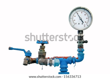 retro gauge, old meter water pipe, valve and faucet on white background - stock photo