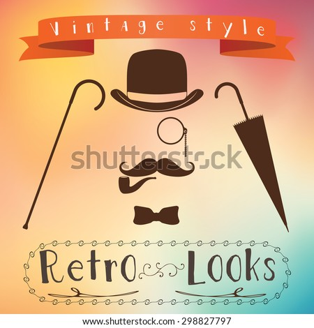 Retro gentleman elements set - bowler, mustache, tobacco pipe monocle, cane and umbrella.raster - stock photo