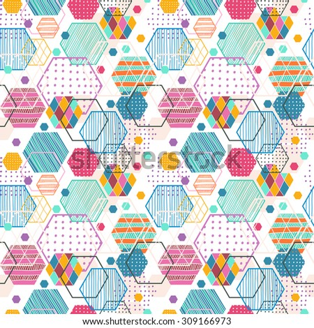 Retro geometric hexagon seamless pattern, beautiful colorful pattern for graphic design - stock photo