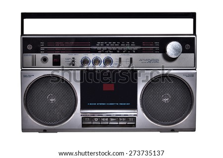 retro ghetto blaster isolated - stock photo