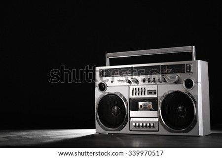 Retro ghetto blaster isolated on black background with clipping path - stock photo