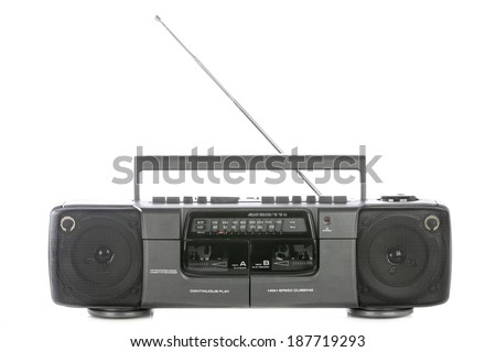 Retro ghetto blaster isolated on white - stock photo