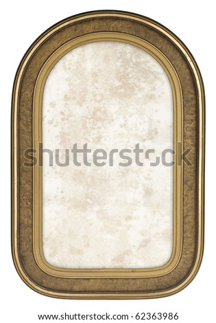 Retro Gold Frame with Rounded Corners, This old frame is 1930's and was popular for wedding and portrait photography of the time. - stock photo
