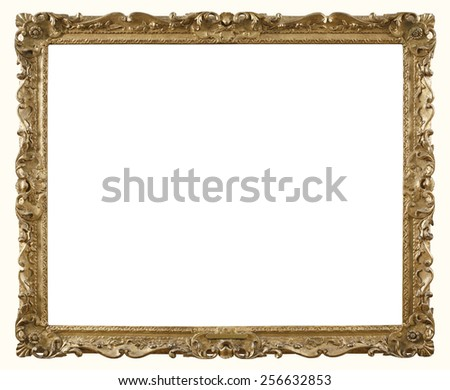 Retro Gold Photograph Frame Old style photo frame in gold paint with ornate gilded carvings   - stock photo