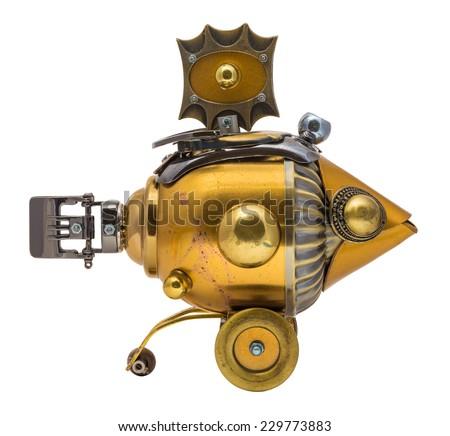 Retro golden steampunk fish. Bronze and chrome parts. - stock photo